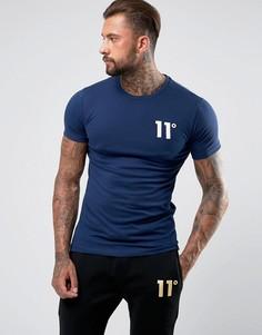 Темно-синяя облегающая футболка с логотипом 11 Degrees - Темно-синий