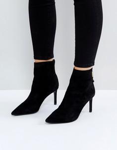 Замшевые полусапожки на каблуке с заостренным носком Dune Oralia - Черный