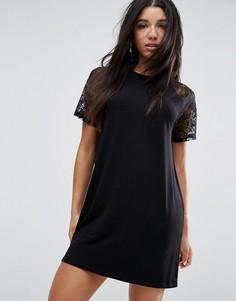 Платье-футболка с кружевными рукавами реглан ASOS - Черный