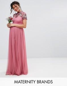 Платье макси с отделкой на кокетке и короткими рукавами Maya Maternity - Фиолетовый