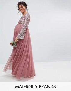 Декорированное пайетками платье макси с длинными рукавами и V-образным вырезом Maya Maternity - Фиолетовый