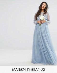 Платье макси с отделкой на лифе и пышными рукавами с пайетками на манжетах Maya Maternity - Синий