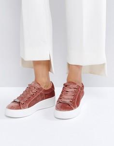 Розовые кроссовки из бархата Steve Madden Bertie - Розовый