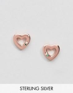 Позолоченные серьги-гвоздики с сердечками Johnny Loves Rosie - Золотой