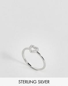 Тонкое серебряное кольцо с сердечком Johnny Loves Rosie - Серебряный