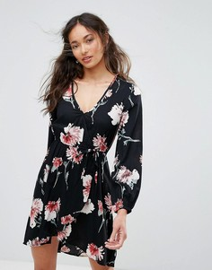 Платье с запахом и цветочным принтом Band Of Gypsies - Черный