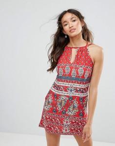 Фестивальное платье с американской проймой и кружевной вставкой на спине Band Of Gypsies - Красный