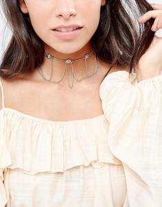 Ожерелье-чокер с подвеской-монеткой DesignB London - Золотой