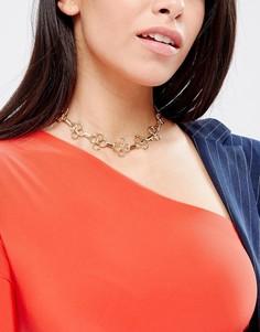 Ожерелье-чокер с цветком DesignB London - Золотой