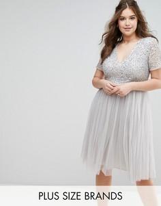 Платье миди с V-образным вырезом и отделкой пайетками Lovedrobe Luxe - Серый