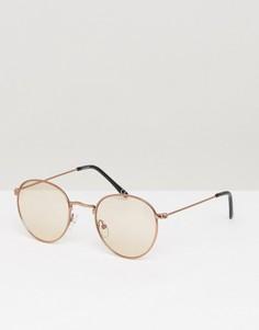 Круглые солнцезащитные очки в стиле 90-х со светло-коричневыми стеклами ASOS - Коричневый