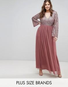Декорированное пайетками платье макси с длинными рукавами и V-образным вырезом Lovedrobe Luxe - Фиолетовый