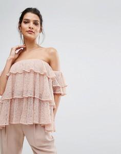 Топ с открытыми плечами и широкими оборками Keepsake - Розовый