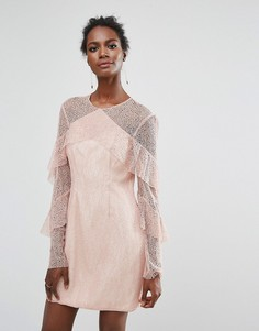 Кружевное платье мини с оборками Keepsake Wide Awake - Розовый