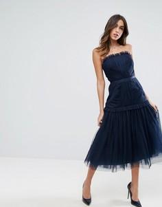 Платье-бандо миди со вставкой из тюля и заниженной талией ASOS - Темно-синий