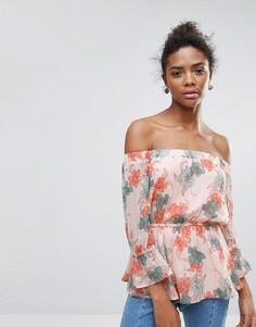 Блузка с баской и цветочным принтом Crescent - Розовый