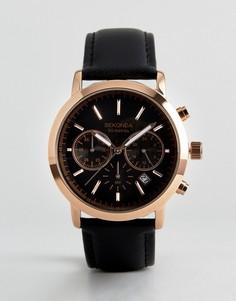 Часы цвета розового золота с хронографом и черным кожаным ремешком Sekonda эксклюзивно для ASOS - Черный