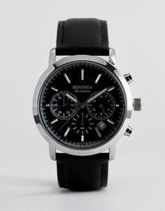 Часы с хронографом и черным кожаным ремешком Sekonda эксклюзивно для ASOS - Черный