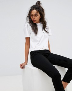 Укороченный топ с логотипом Calvin Klein Jeans - Белый