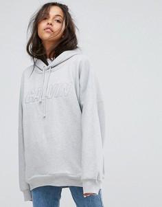Оверсайз-худи с логотипом на груди Calvin Klein Jeans - Серый