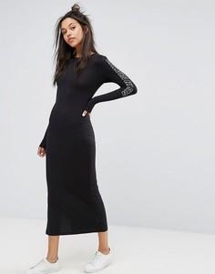 Платье макси с логотипом на предплечье Calvin Klein Jeans - Черный