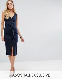Платье миди на крючках с поясом ASOS TALL - Синий
