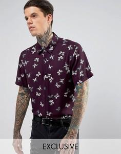 Рубашка классического кроя с принтом бабочек Reclaimed Vintage Inspired - Фиолетовый