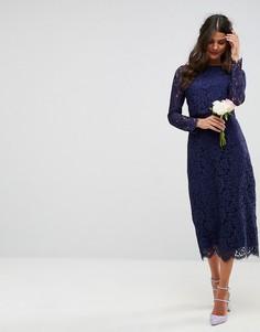 Кружевное платье-футляр миди с длинными рукавами ASOS WEDDING - Темно-синий
