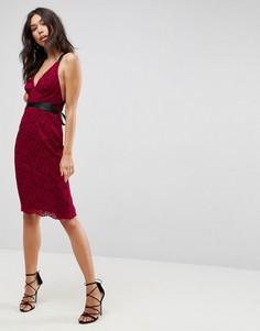 Кружевное платье-футляр миди с лентами-завязками ASOS - Красный