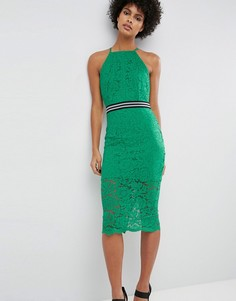Кружевное платье-футляр миди со спортивной отделкой на талии ASOS - Зеленый
