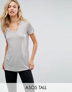 Легкая футболка с V-образным вырезом ASOS TALL - Серый