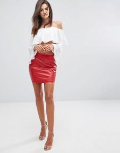 Облегающая юбка из искусственной кожи Fashion Union - Красный