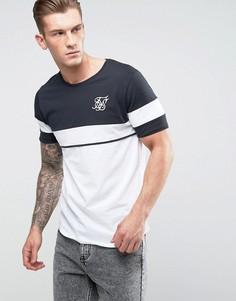 Облегающая черная футболка в стиле ретро SikSilk - Белый