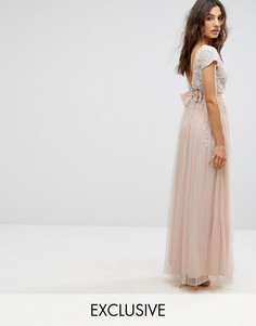 Платье макси с бантом на спине и короткими рукавами с отделкой Maya - Розовый