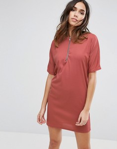 Платье-футболка с молнией спереди Daisy Street - Розовый