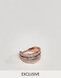 Кольцо цвета розового золота с отделкой в виде пера DesignB London эксклюзивно для ASOS - Медный