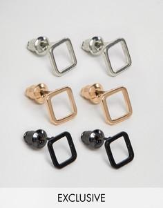 Набор из 3 пар квадратных серег DesignB London эксклюзивно для ASOS - Золотой