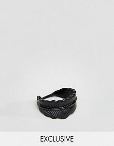 Черное матовое кольцо в виде пера DesignB London эксклюзивно для ASOS - Черный