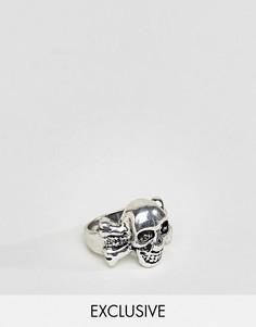 Серебристое кольцо с отделкой в виде черепа и костей DesignB London эксклюзивно для ASOS - Серебряный
