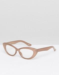 Небольшие солнцезащитные очки кошачий глаз ASOS - Бежевый
