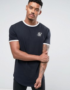 Темно-синяя облегающая футболка с окантовкой SikSilk - Темно-синий