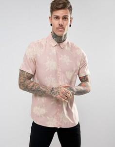 Розовая рубашка классического кроя из вискозы с цветочным принтом ASOS - Розовый