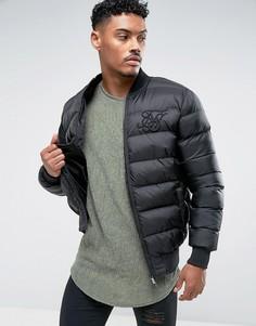 Черная дутая куртка SikSilk - Черный