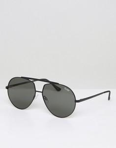 Солнцезащитные очки-авиаторы с белыми зеркальными стеклами Quay Australia - Черный
