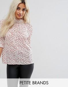 Блузка с высоким воротом и цветочным принтом Fashion Union Petite - Белый