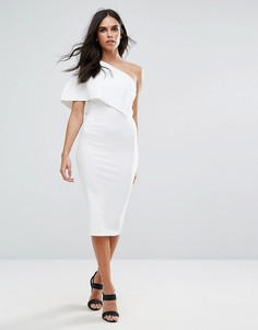 Белое платье миди на одно плечо с накидкой Missguided - Белый
