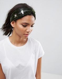 Бархатная повязка на голову с вышивкой ASOS - Мульти