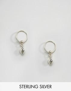 Серебряные серьги-кольца с подвесками-сердечками Kingsley Ryan - Серебряный