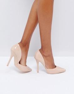 Телесные туфли-лодочки на каблуке Glamorous - Бежевый