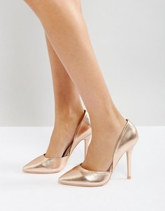 Розово-золотистые туфли-лодочки на каблуке Glamorous - Золотой